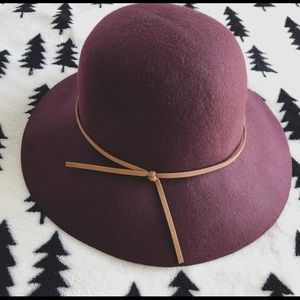 Burgundy Wool Floppy Hat
